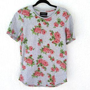 PacSun Heather Gray Rose Floral Scallop Tee